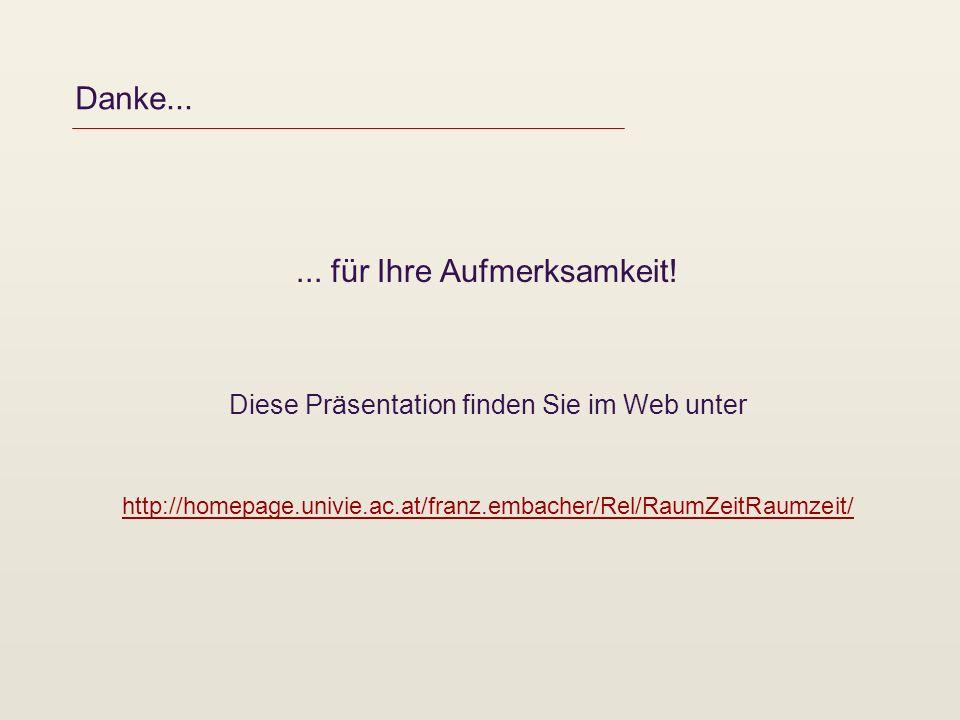 Danke...... für Ihre Aufmerksamkeit! Diese Präsentation finden Sie im Web unter http://homepage.univie.ac.at/franz.embacher/Rel/RaumZeitRaumzeit/