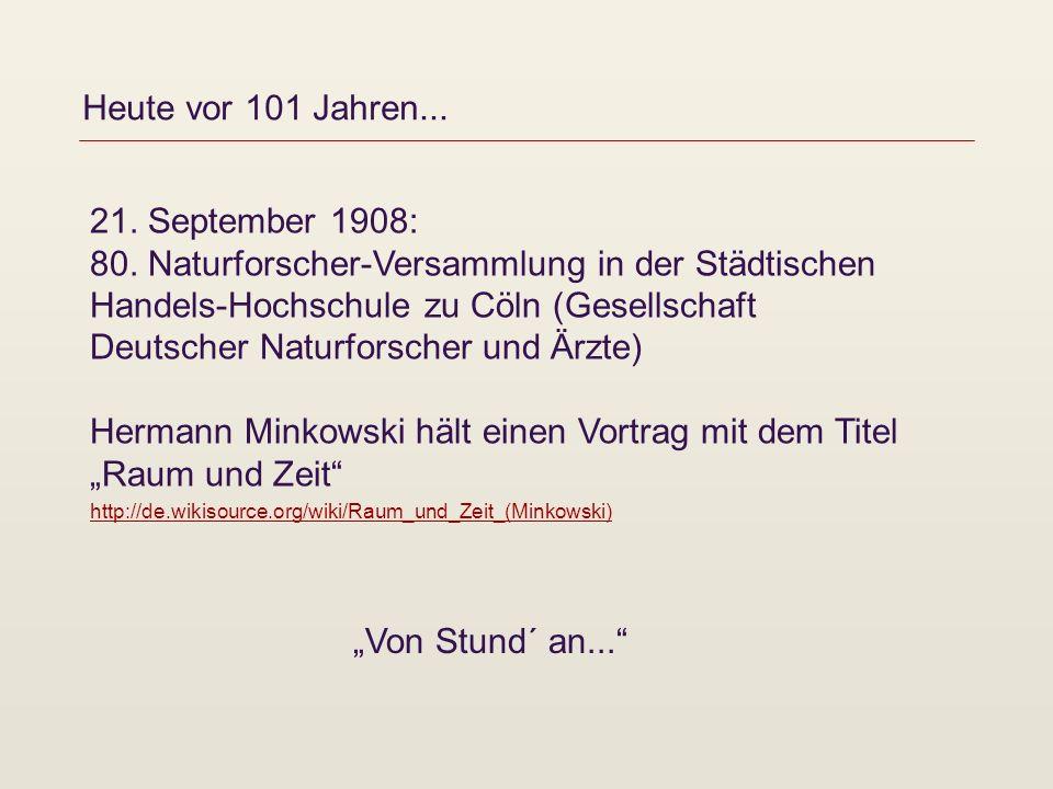 Heute vor 101 Jahren... 21. September 1908: 80. Naturforscher-Versammlung in der Städtischen Handels-Hochschule zu Cöln (Gesellschaft Deutscher Naturf