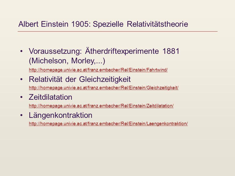 Albert Einstein 1905: Spezielle Relativitätstheorie Voraussetzung: Ätherdriftexperimente 1881 (Michelson, Morley,...) http://homepage.univie.ac.at/fra