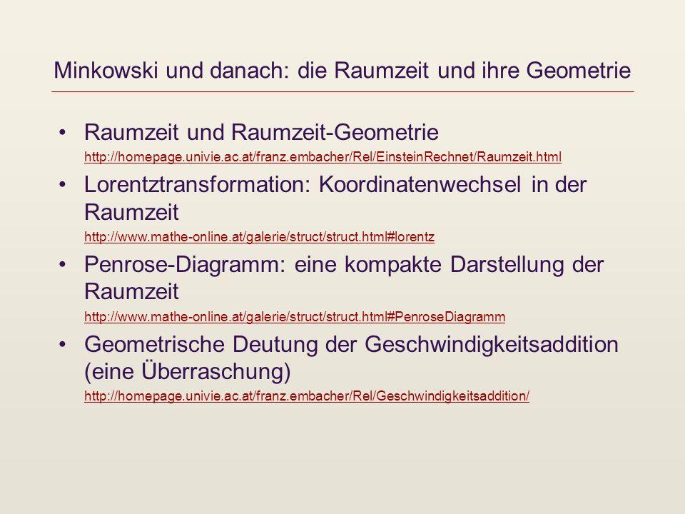Minkowski und danach: die Raumzeit und ihre Geometrie Raumzeit und Raumzeit-Geometrie http://homepage.univie.ac.at/franz.embacher/Rel/EinsteinRechnet/