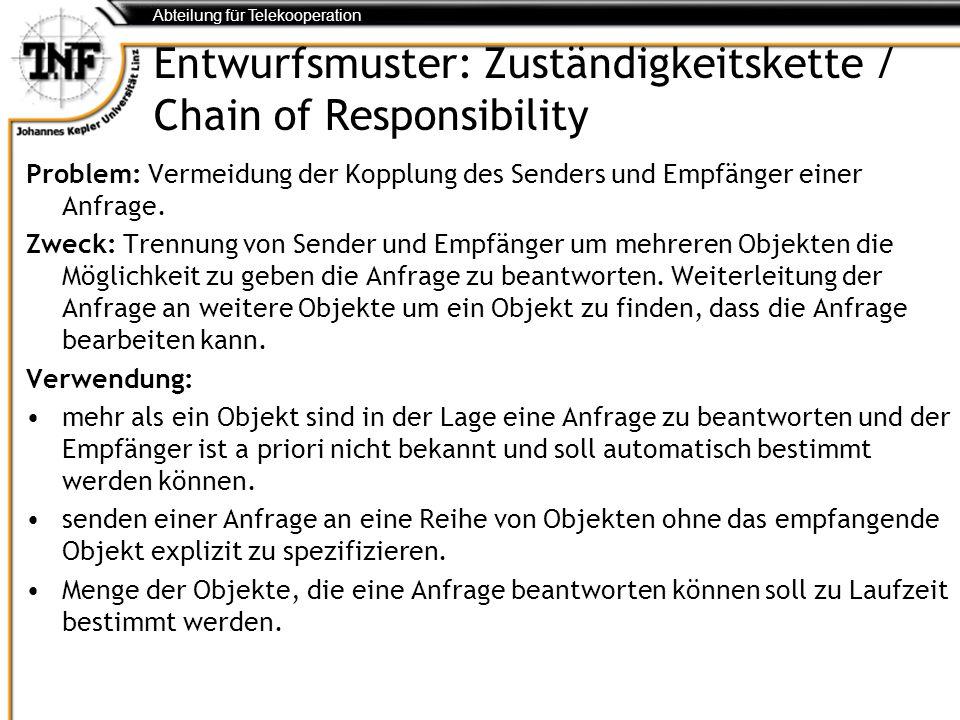 Abteilung für Telekooperation Entwurfsmuster: Zuständigkeitskette / Chain of Responsibility Problem: Vermeidung der Kopplung des Senders und Empfänger