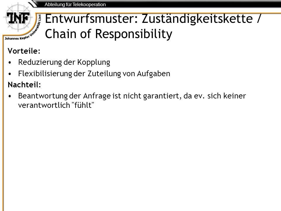 Abteilung für Telekooperation Entwurfsmuster: Zuständigkeitskette / Chain of Responsibility Vorteile: Reduzierung der Kopplung Flexibilisierung der Zu