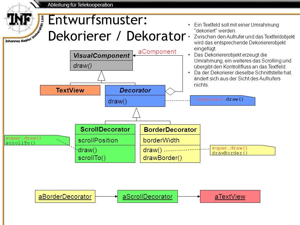 Abteilung für Telekooperation Entwurfsmuster: Dekorierer / Dekorator VisualComponent draw() TextView Decorator draw() super.draw() drawBorder() aCompo