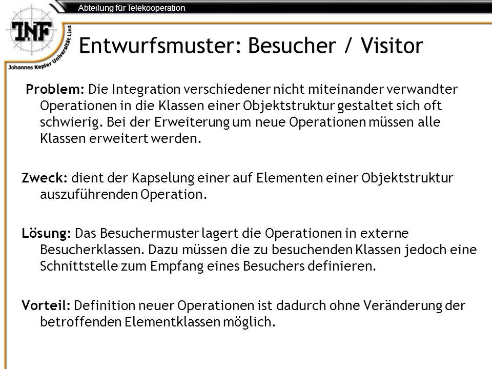 Abteilung für Telekooperation Entwurfsmuster: Besucher / Visitor Problem: Die Integration verschiedener nicht miteinander verwandter Operationen in di