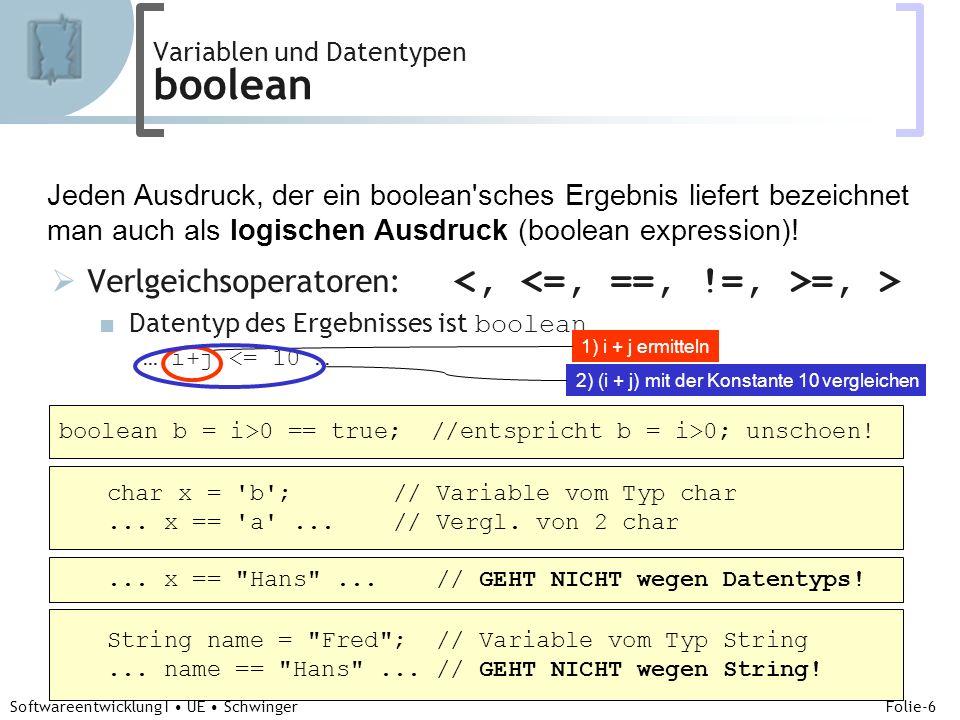 Abteilung für Telekooperation Folie-7 Softwareentwicklung I UE Schwinger Kontrollfluß if-else 1/2 Verzweigung if( a > b ) System.out.println(a); // falls a>b else System.out.println(b); // falls a<=b Verwendung von Anweisungsblöcken {…} if ( a > b ) { System.out.println(a); … } else { System.out.println(b); … } die häufigere Variante!