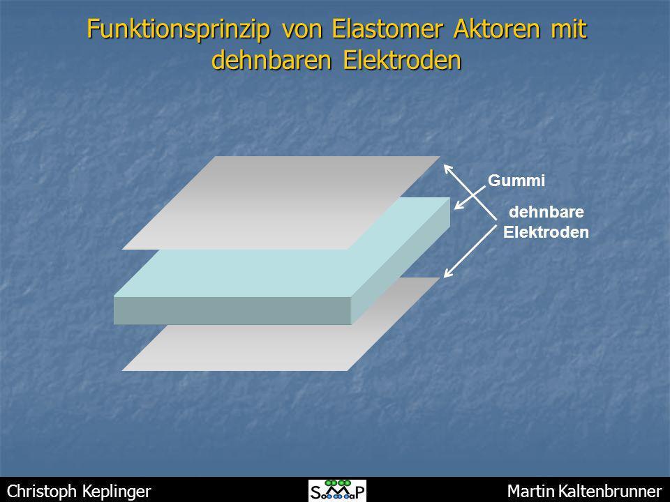 Christoph Keplinger Martin Kaltenbrunner Funktionsprinzip von Elastomer Aktoren mit dehnbaren Elektroden Gummi dehnbare Elektroden