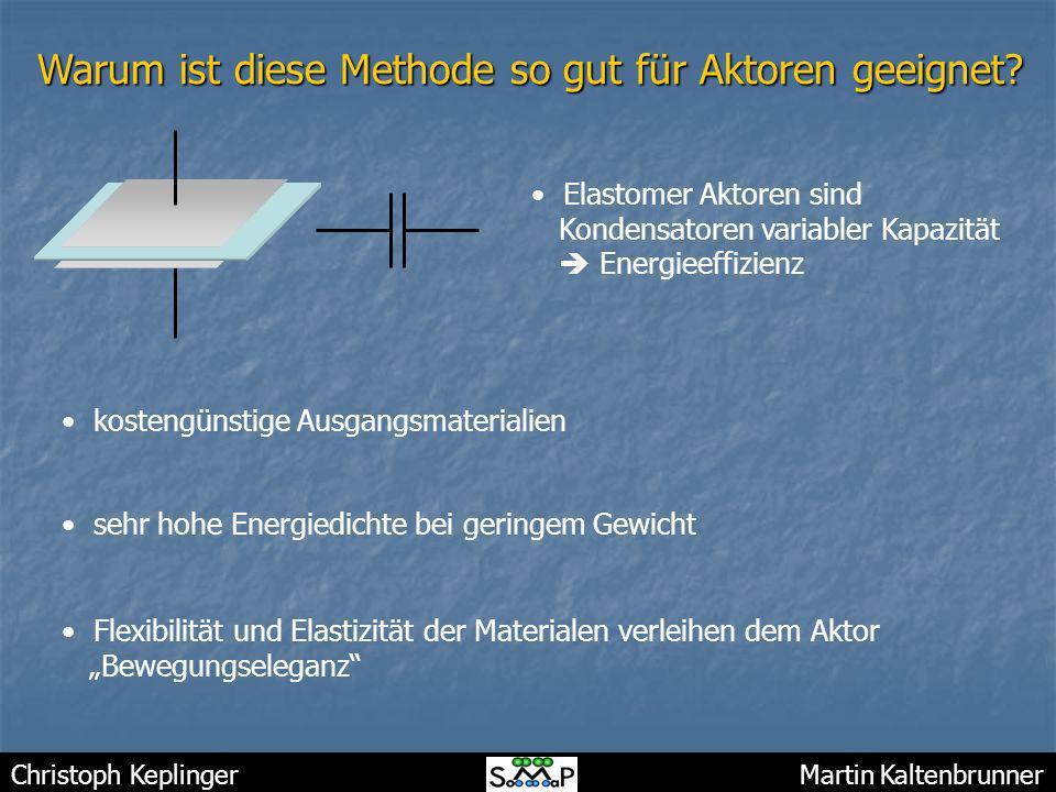 Christoph Keplinger Martin Kaltenbrunner Warum ist diese Methode so gut für Aktoren geeignet? Elastomer Aktoren sind Kondensatoren variabler Kapazität