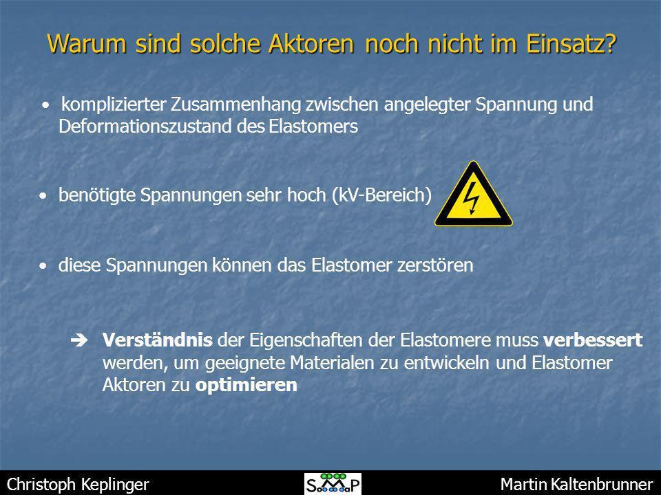 Christoph Keplinger Martin Kaltenbrunner Warum sind solche Aktoren noch nicht im Einsatz? komplizierter Zusammenhang zwischen angelegter Spannung und
