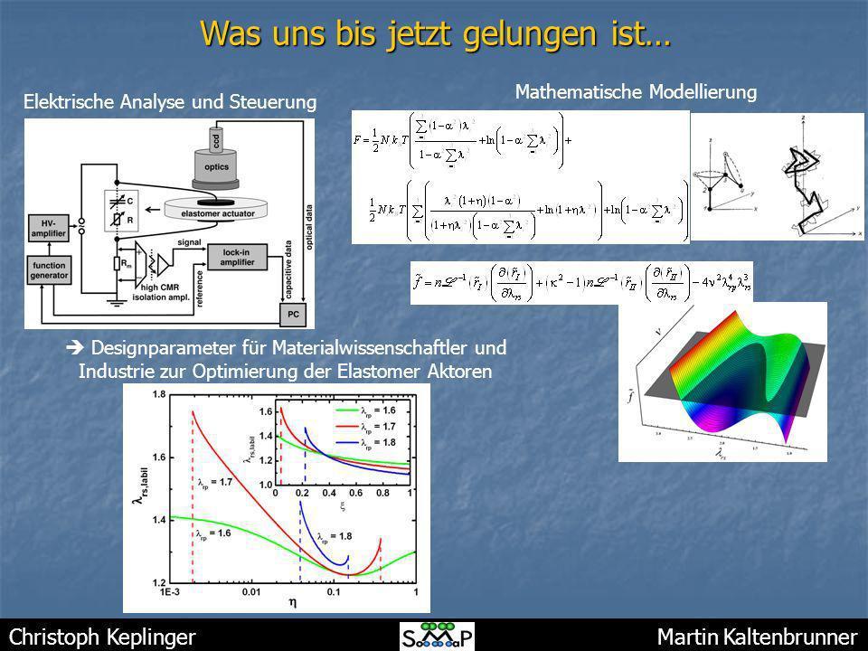 Christoph Keplinger Martin Kaltenbrunner Was uns bis jetzt gelungen ist… Elektrische Analyse und Steuerung Mathematische Modellierung Designparameter