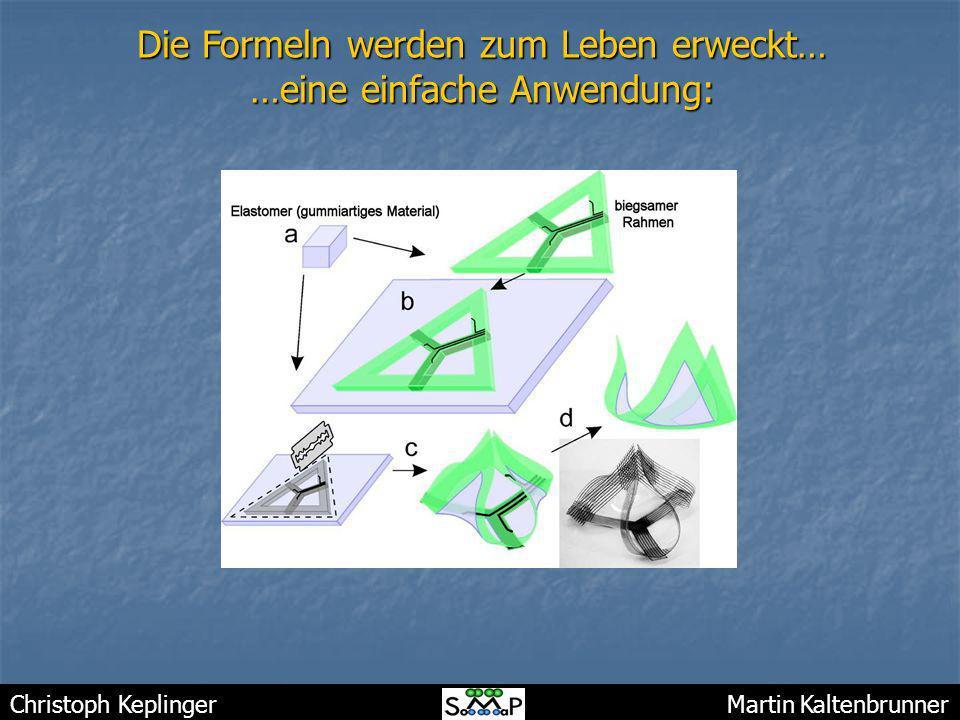Christoph Keplinger Martin Kaltenbrunner Die Formeln werden zum Leben erweckt… …eine einfache Anwendung: