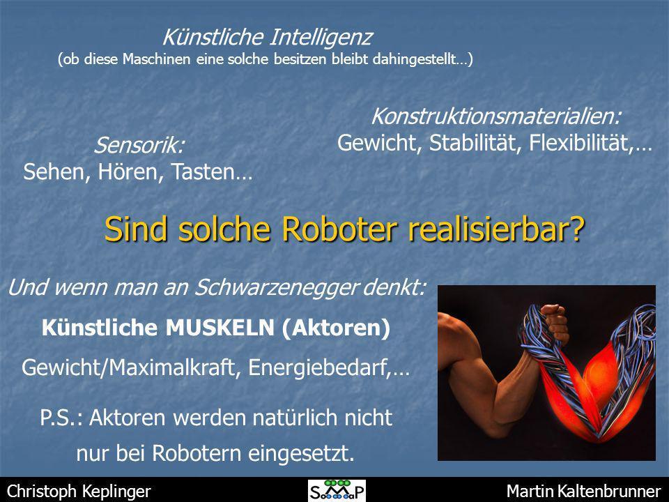 Christoph Keplinger Martin Kaltenbrunner Sind solche Roboter realisierbar? Künstliche Intelligenz (ob diese Maschinen eine solche besitzen bleibt dahi