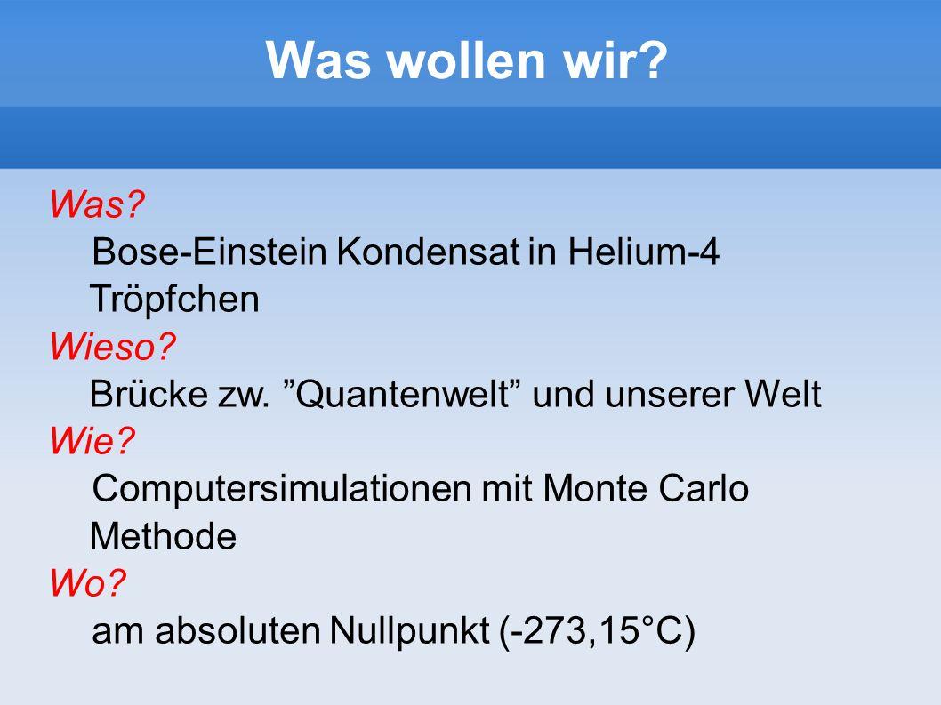 Was wollen wir? Was? Bose-Einstein Kondensat in Helium-4 Tröpfchen Wieso? Brücke zw. Quantenwelt und unserer Welt Wie? Computersimulationen mit Monte
