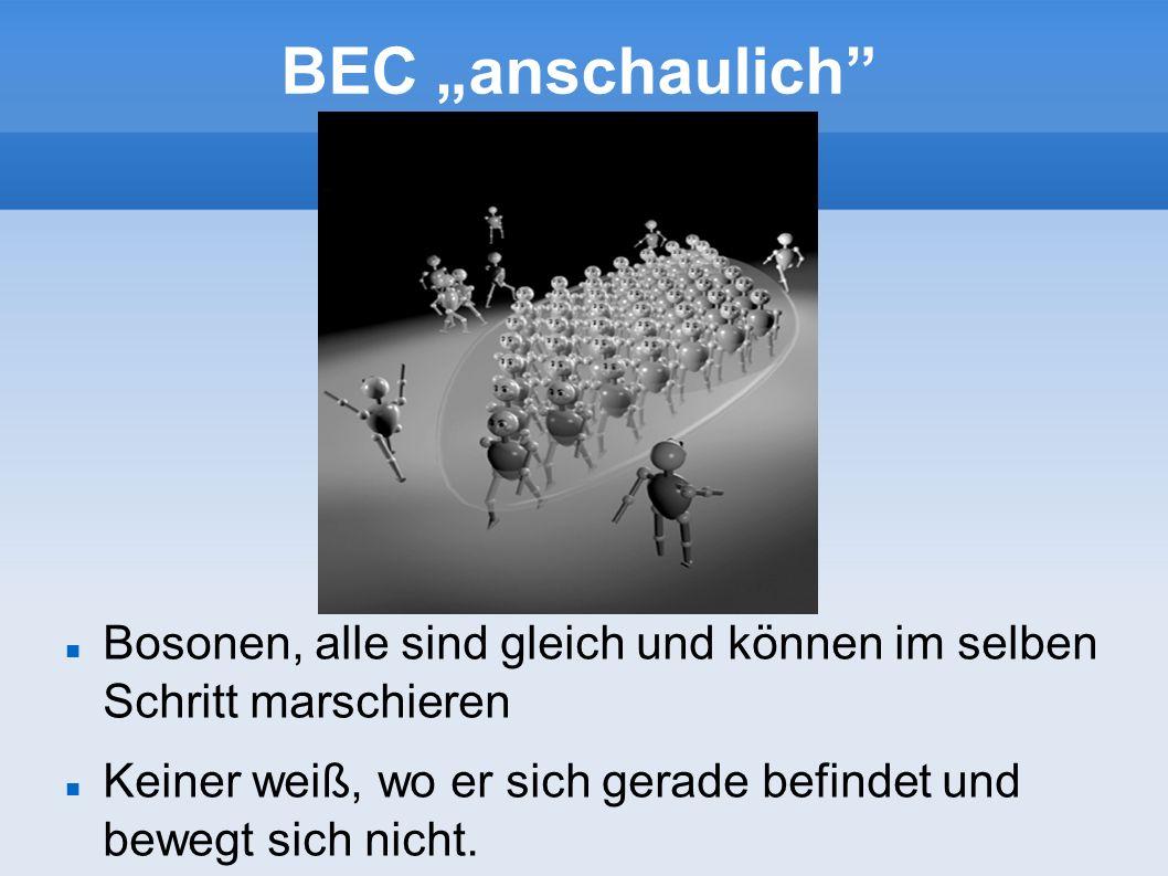 BEC anschaulich Bosonen, alle sind gleich und können im selben Schritt marschieren Keiner weiß, wo er sich gerade befindet und bewegt sich nicht.
