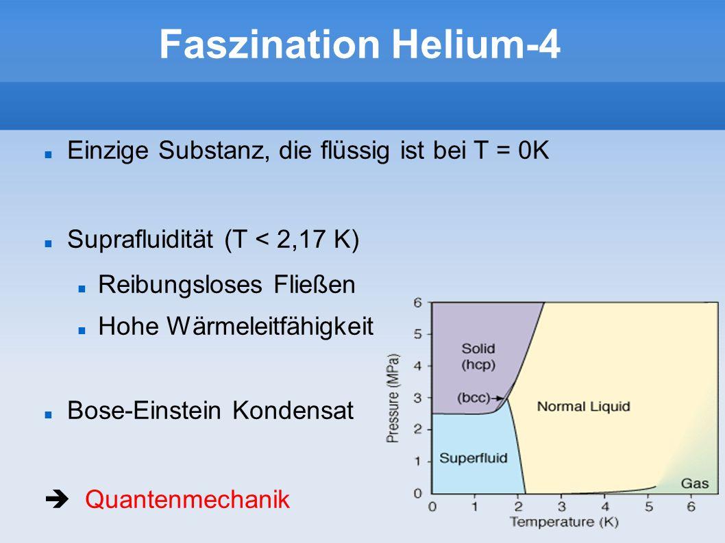 Einzige Substanz, die flüssig ist bei T = 0K Suprafluidität (T < 2,17 K) Reibungsloses Fließen Hohe Wärmeleitfähigkeit Bose-Einstein Kondensat Quanten