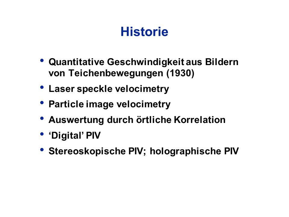 Historie Quantitative Geschwindigkeit aus Bildern von Teichenbewegungen (1930) Laser speckle velocimetry Particle image velocimetry Auswertung durch ö