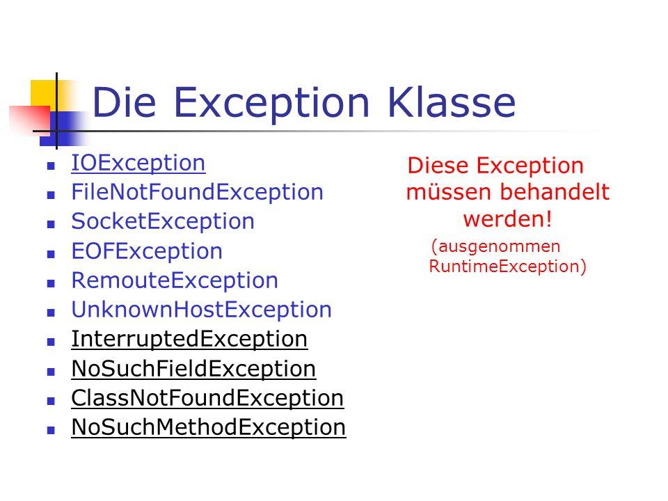 Die Exception Klasse IOException FileNotFoundException SocketException EOFException RemouteException UnknownHostException InterruptedException NoSuchF