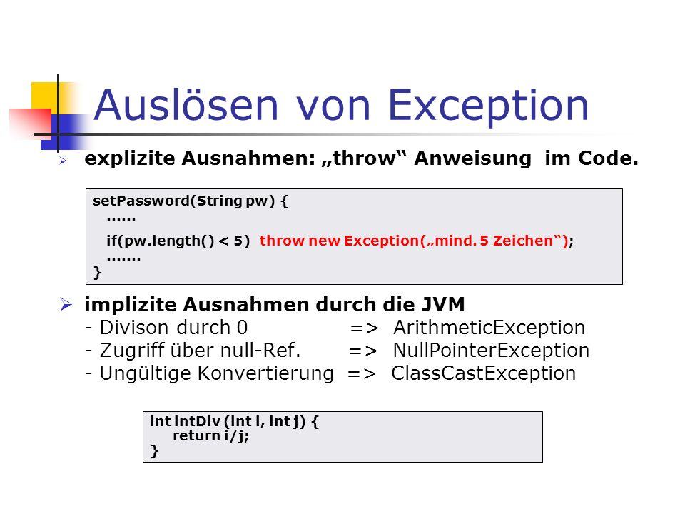 Auslösen von Exception explizite Ausnahmen: throw Anweisung im Code. implizite Ausnahmen durch die JVM - Divison durch 0 => ArithmeticException - Zugr