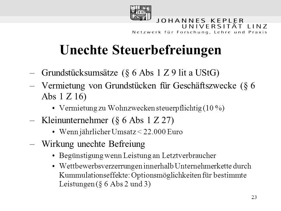 23 Unechte Steuerbefreiungen –Grundstücksumsätze (§ 6 Abs 1 Z 9 lit a UStG) –Vermietung von Grundstücken für Geschäftszwecke (§ 6 Abs 1 Z 16) Vermietu