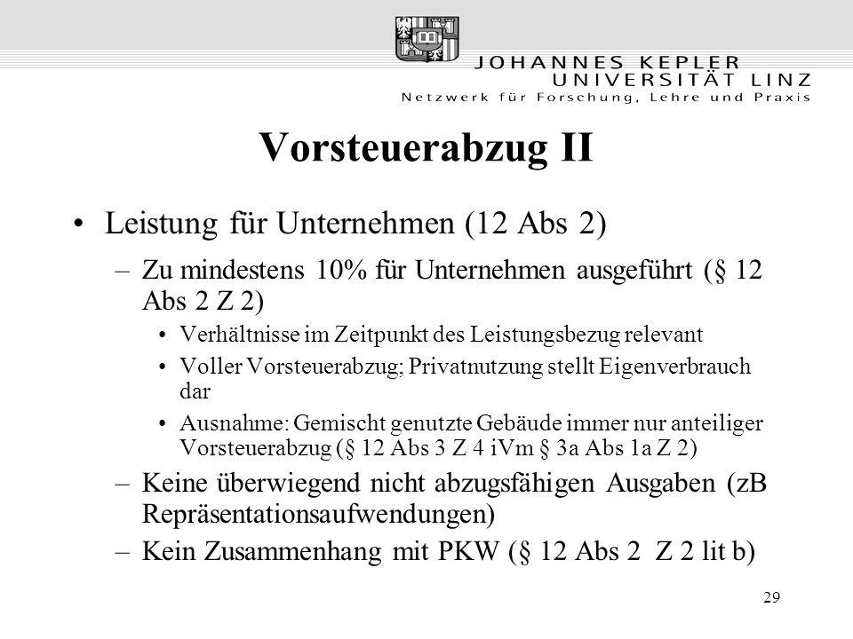 29 Vorsteuerabzug II Leistung für Unternehmen (12 Abs 2) –Zu mindestens 10% für Unternehmen ausgeführt (§ 12 Abs 2 Z 2) Verhältnisse im Zeitpunkt des