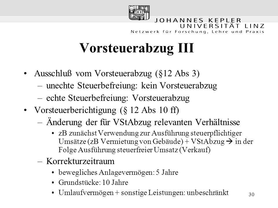 30 Vorsteuerabzug III Ausschluß vom Vorsteuerabzug (§12 Abs 3) –unechte Steuerbefreiung: kein Vorsteuerabzug –echte Steuerbefreiung: Vorsteuerabzug Vo