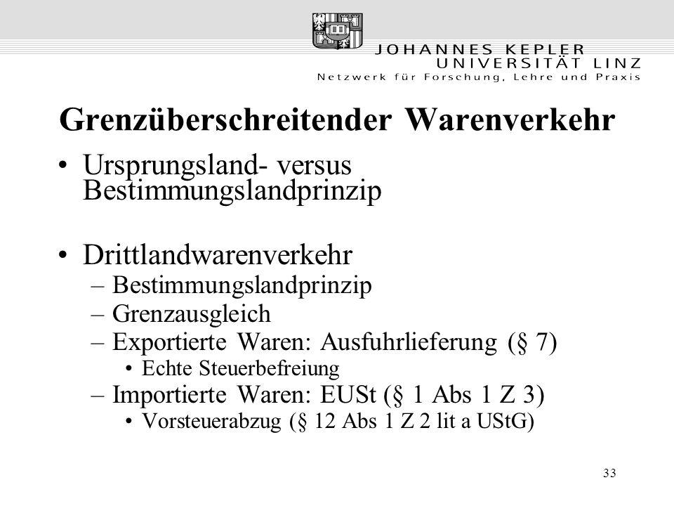 33 Grenzüberschreitender Warenverkehr Ursprungsland- versus Bestimmungslandprinzip Drittlandwarenverkehr –Bestimmungslandprinzip –Grenzausgleich –Expo