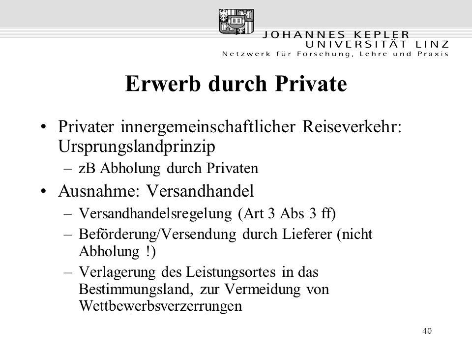 40 Erwerb durch Private Privater innergemeinschaftlicher Reiseverkehr: Ursprungslandprinzip –zB Abholung durch Privaten Ausnahme: Versandhandel –Versa