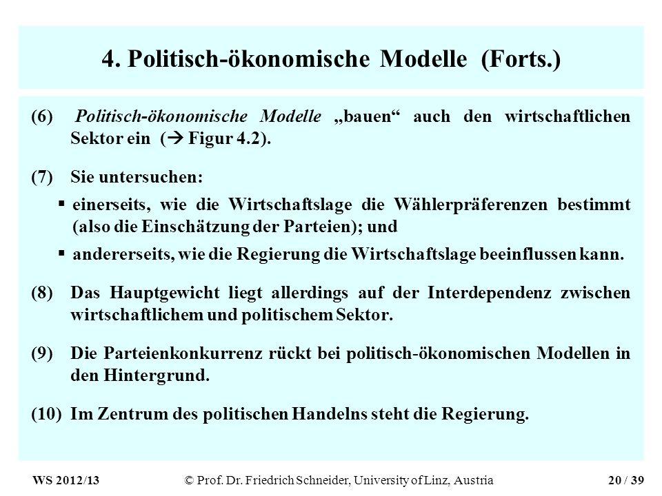 4. Politisch-ökonomische Modelle (Forts.) (6) Politisch-ökonomische Modelle bauen auch den wirtschaftlichen Sektor ein ( Figur 4.2). (7)Sie untersuche