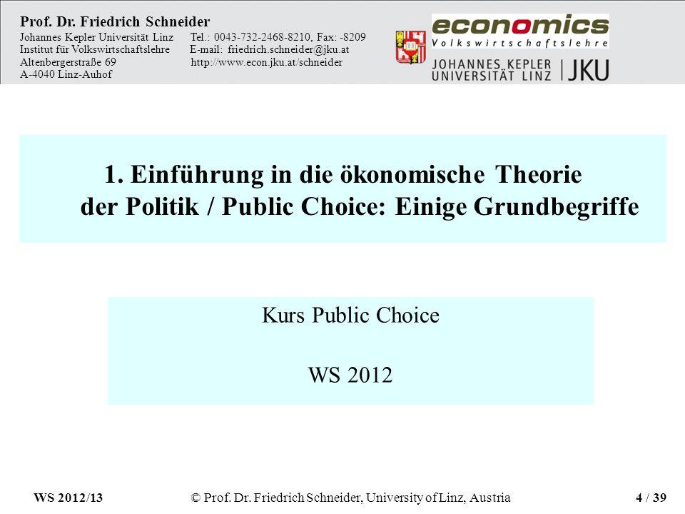 1. Einführung in die ökonomische Theorie der Politik / Public Choice: Einige Grundbegriffe Kurs Public Choice WS 2012 Prof. Dr. Friedrich Schneider Jo