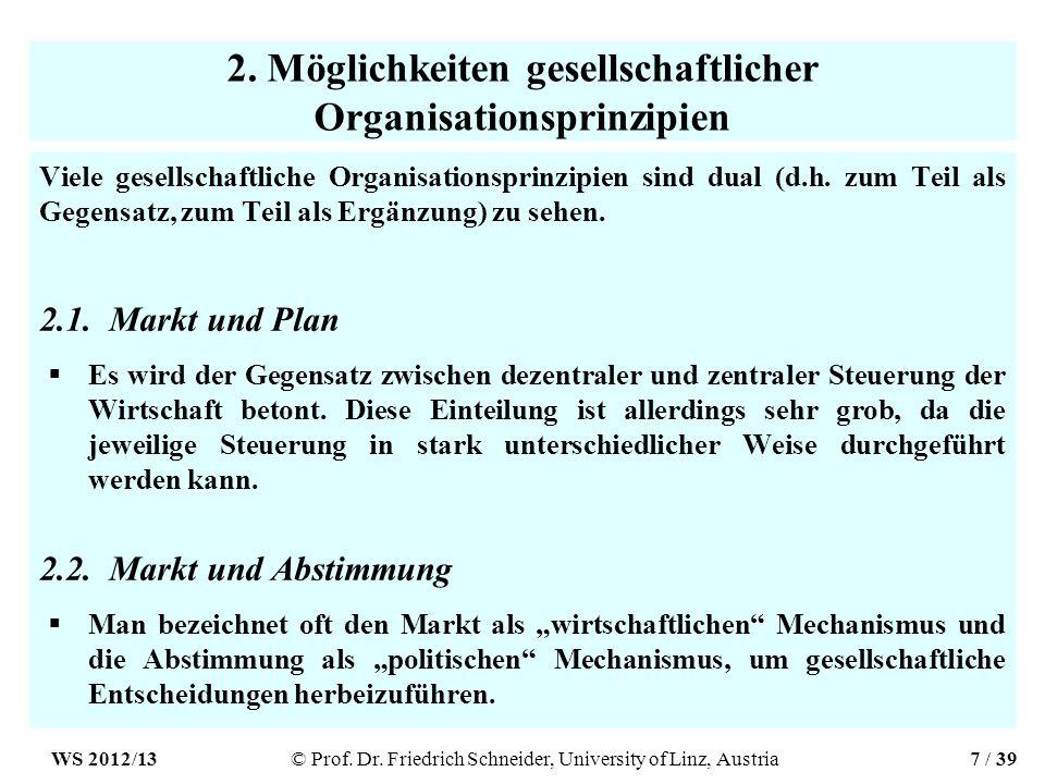 2. Möglichkeiten gesellschaftlicher Organisationsprinzipien Viele gesellschaftliche Organisationsprinzipien sind dual (d.h. zum Teil als Gegensatz, zu