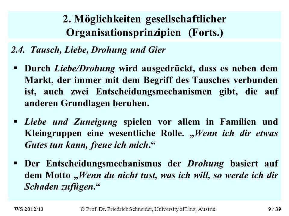 2. Möglichkeiten gesellschaftlicher Organisationsprinzipien (Forts.) 2.4.