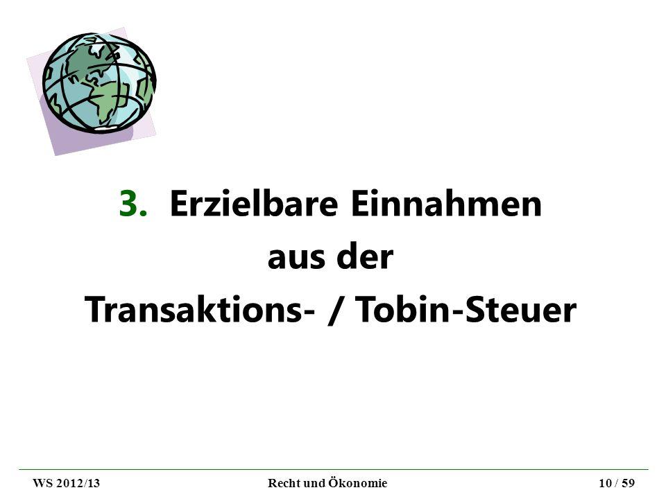 3. Erzielbare Einnahmen aus der Transaktions- / Tobin-Steuer WS 2012/13Recht und Ökonomie10 / 59