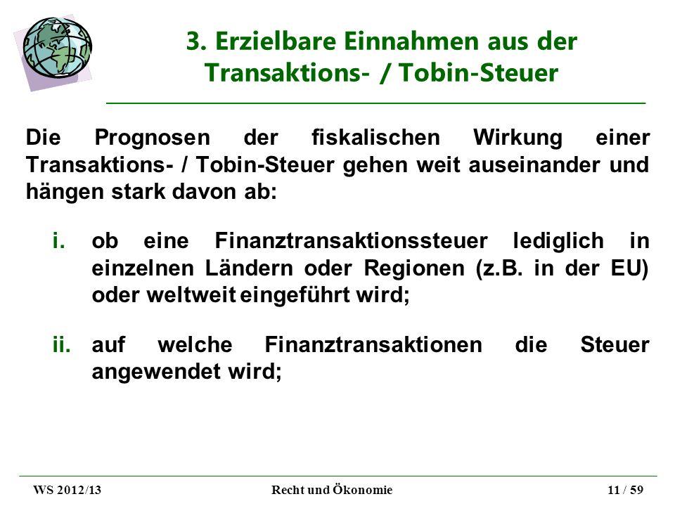 3. Erzielbare Einnahmen aus der Transaktions- / Tobin-Steuer Die Prognosen der fiskalischen Wirkung einer Transaktions- / Tobin-Steuer gehen weit ause