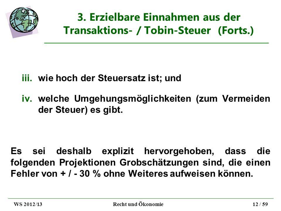 3. Erzielbare Einnahmen aus der Transaktions- / Tobin-Steuer (Forts.) iii.wie hoch der Steuersatz ist; und iv.welche Umgehungsmöglichkeiten (zum Verme