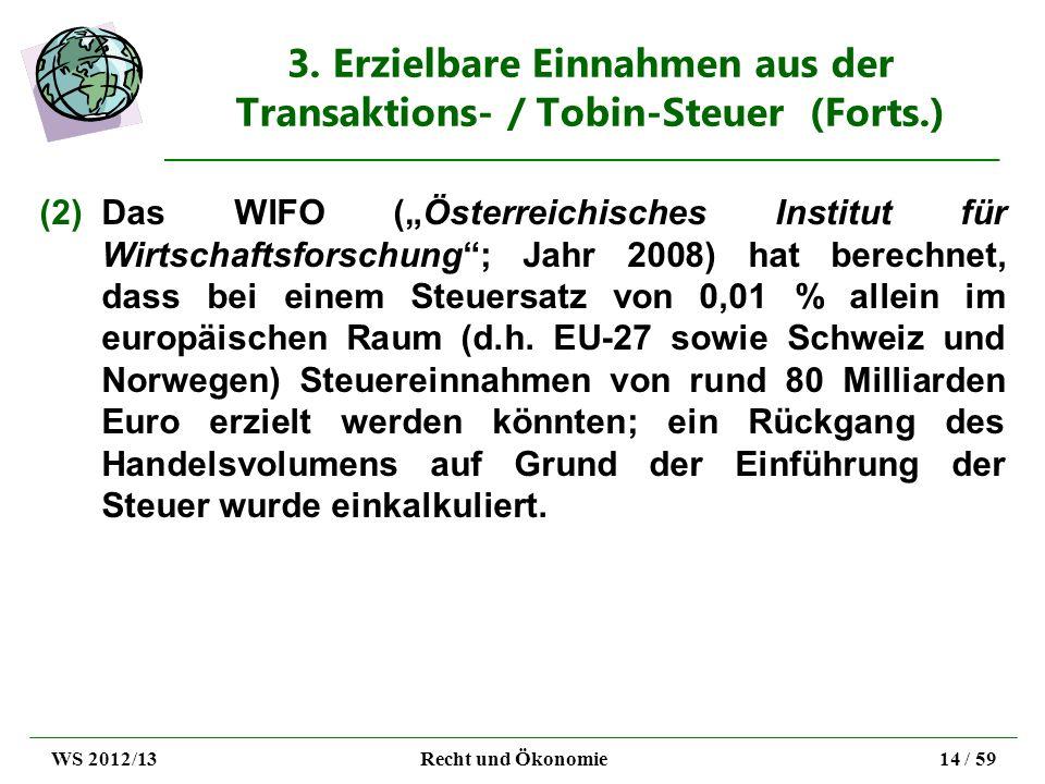3. Erzielbare Einnahmen aus der Transaktions- / Tobin-Steuer (Forts.) (2)Das WIFO (Österreichisches Institut für Wirtschaftsforschung; Jahr 2008) hat