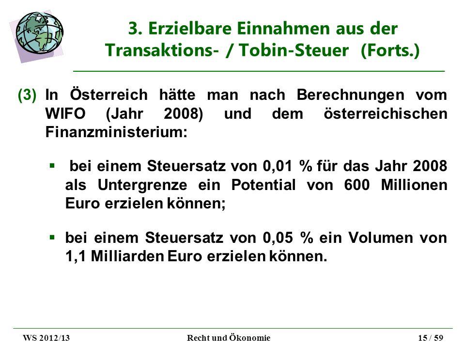 3. Erzielbare Einnahmen aus der Transaktions- / Tobin-Steuer (Forts.) (3)In Österreich hätte man nach Berechnungen vom WIFO (Jahr 2008) und dem österr