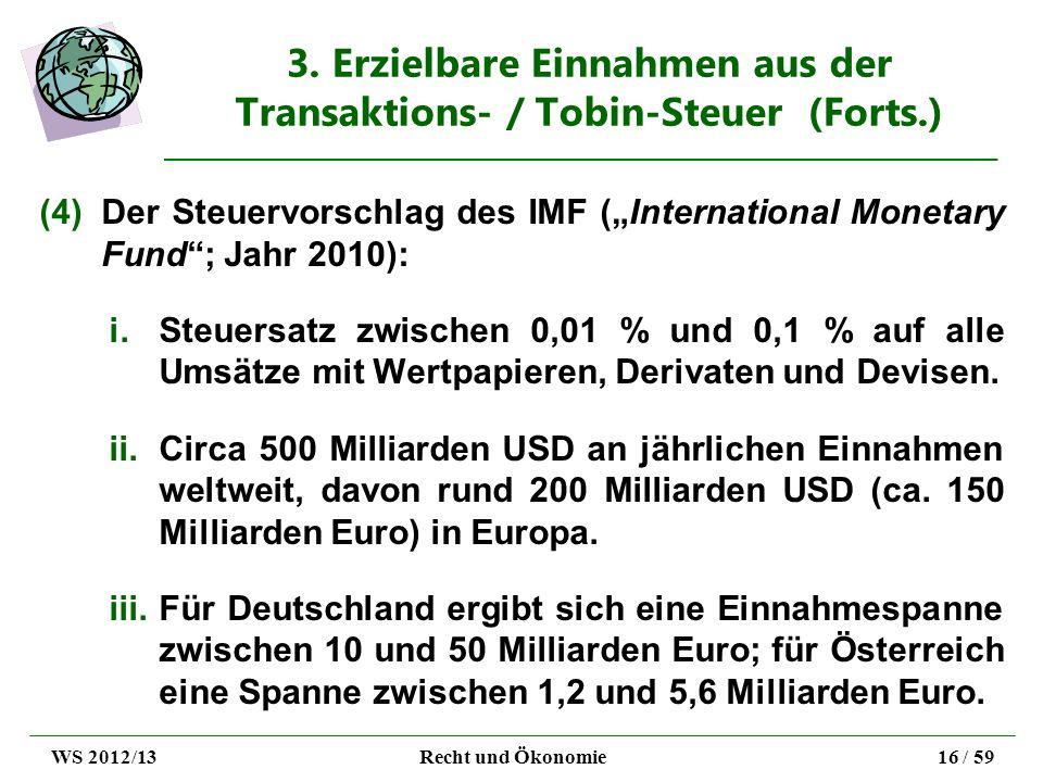 3. Erzielbare Einnahmen aus der Transaktions- / Tobin-Steuer (Forts.) (4)Der Steuervorschlag des IMF (International Monetary Fund; Jahr 2010): i.Steue