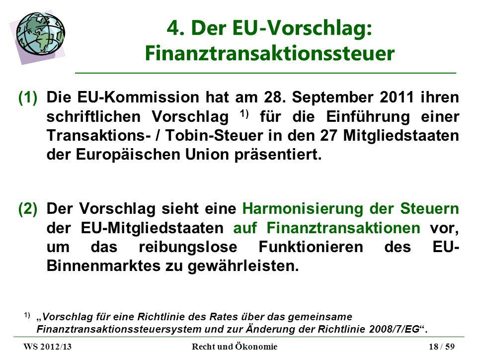 4. Der EU-Vorschlag: Finanztransaktionssteuer (1)Die EU-Kommission hat am 28. September 2011 ihren schriftlichen Vorschlag 1) für die Einführung einer