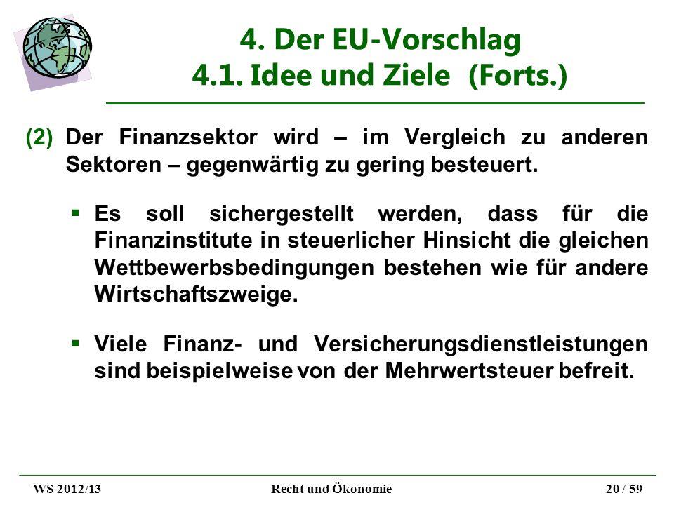 4. Der EU-Vorschlag 4.1. Idee und Ziele (Forts.) (2)Der Finanzsektor wird – im Vergleich zu anderen Sektoren – gegenwärtig zu gering besteuert. Es sol