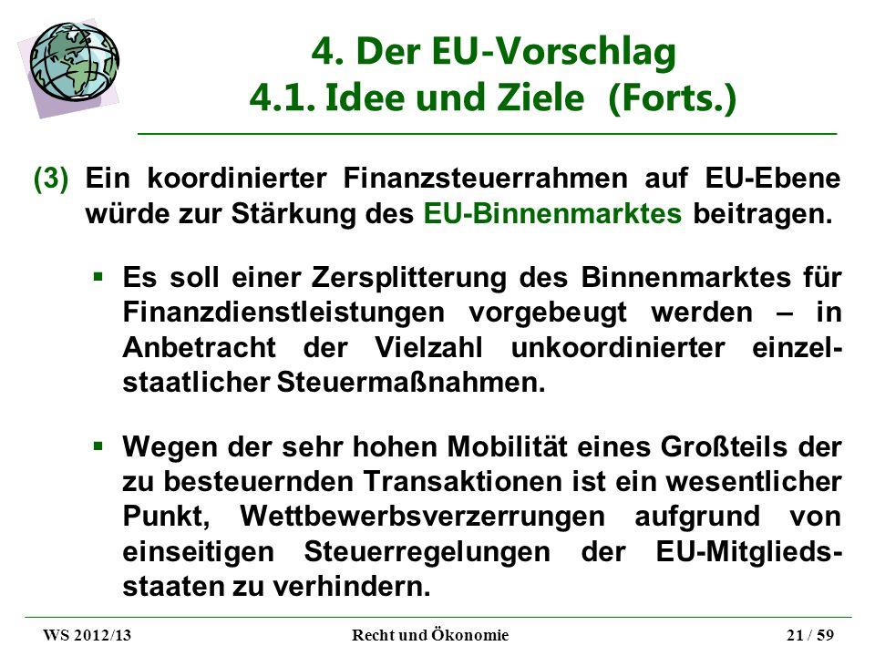 4. Der EU-Vorschlag 4.1. Idee und Ziele (Forts.) (3)Ein koordinierter Finanzsteuerrahmen auf EU-Ebene würde zur Stärkung des EU-Binnenmarktes beitrage