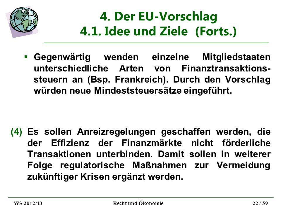 4. Der EU-Vorschlag 4.1. Idee und Ziele (Forts.) Gegenwärtig wenden einzelne Mitgliedstaaten unterschiedliche Arten von Finanztransaktions- steuern an