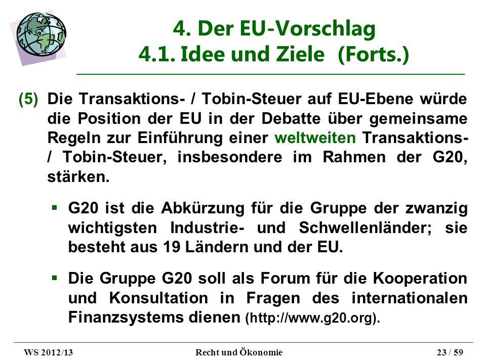 4. Der EU-Vorschlag 4.1. Idee und Ziele (Forts.) (5)Die Transaktions- / Tobin-Steuer auf EU-Ebene würde die Position der EU in der Debatte über gemein