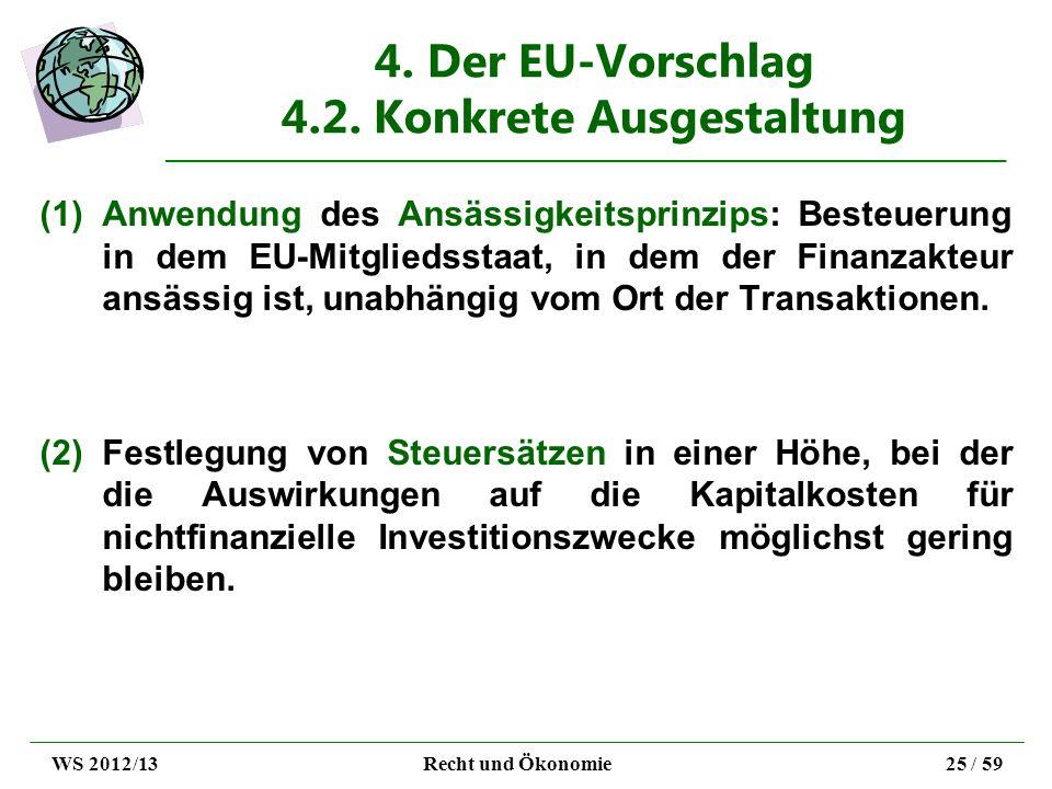 4. Der EU-Vorschlag 4.2. Konkrete Ausgestaltung (1)Anwendung des Ansässigkeitsprinzips: Besteuerung in dem EU-Mitgliedsstaat, in dem der Finanzakteur