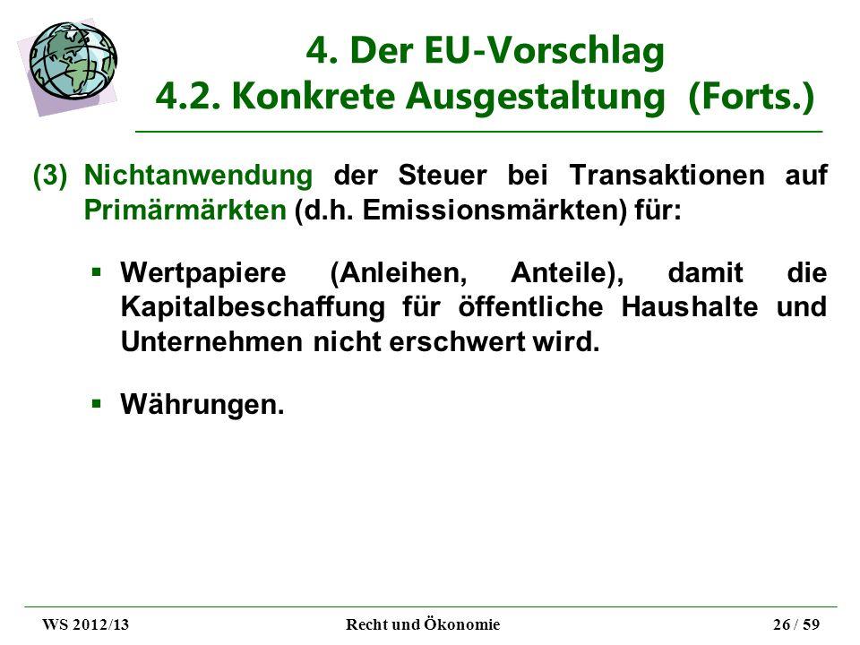 4. Der EU-Vorschlag 4.2. Konkrete Ausgestaltung (Forts.) (3)Nichtanwendung der Steuer bei Transaktionen auf Primärmärkten (d.h. Emissionsmärkten) für: