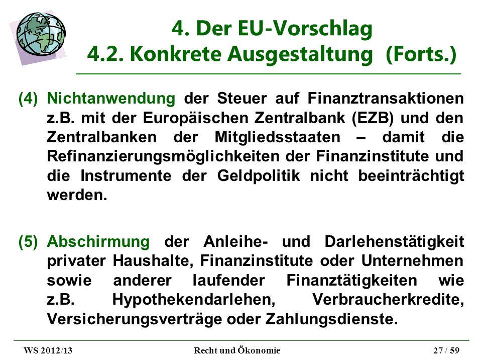 4. Der EU-Vorschlag 4.2. Konkrete Ausgestaltung (Forts.) (4)Nichtanwendung der Steuer auf Finanztransaktionen z.B. mit der Europäischen Zentralbank (E