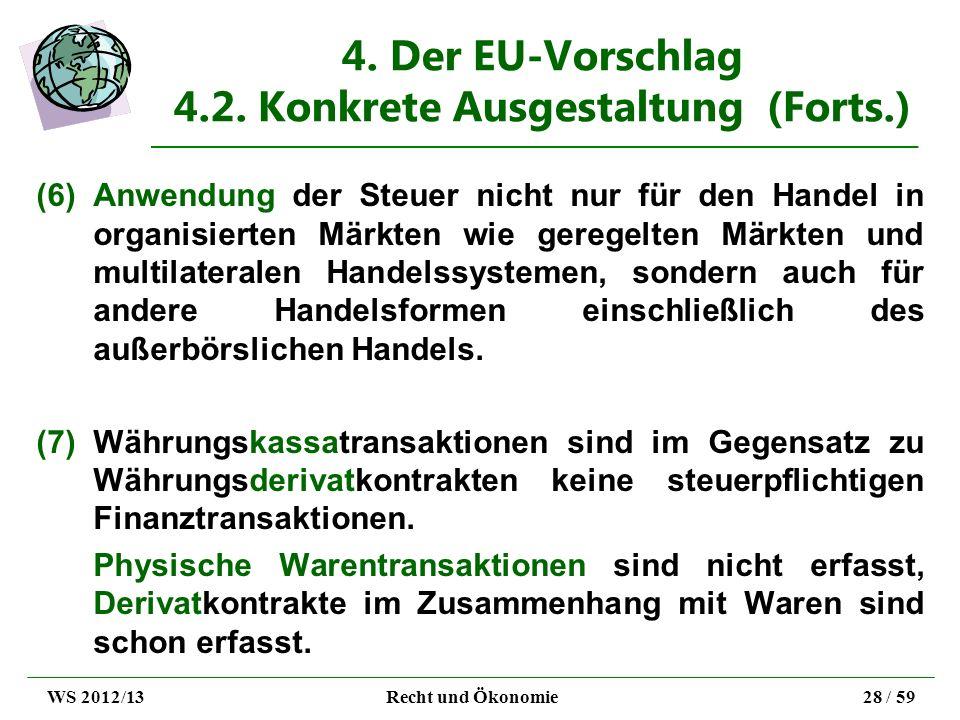 4. Der EU-Vorschlag 4.2. Konkrete Ausgestaltung (Forts.) (6)Anwendung der Steuer nicht nur für den Handel in organisierten Märkten wie geregelten Märk