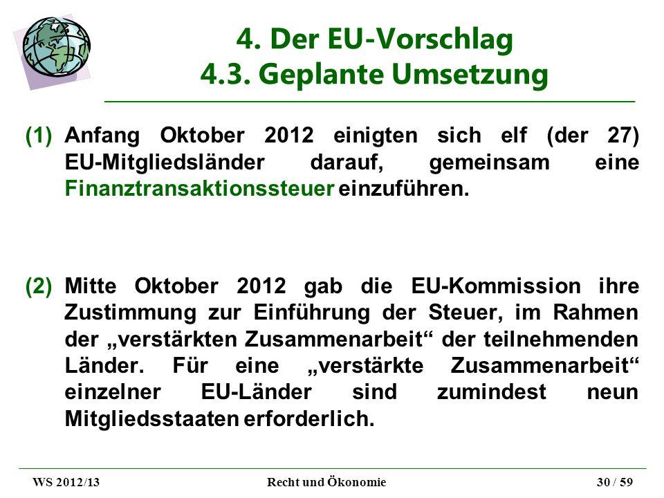 4. Der EU-Vorschlag 4.3. Geplante Umsetzung (1)Anfang Oktober 2012 einigten sich elf (der 27) EU-Mitgliedsländer darauf, gemeinsam eine Finanztransakt