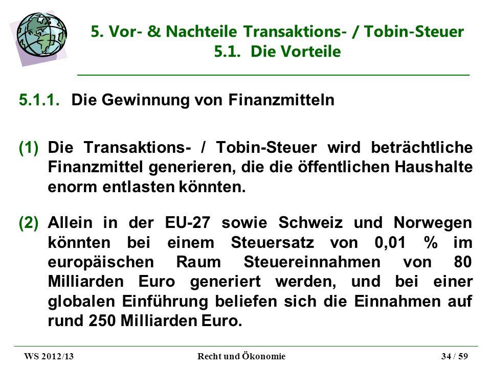 5. Vor- & Nachteile Transaktions- / Tobin-Steuer 5.1. Die Vorteile 5.1.1.Die Gewinnung von Finanzmitteln (1)Die Transaktions- / Tobin-Steuer wird betr