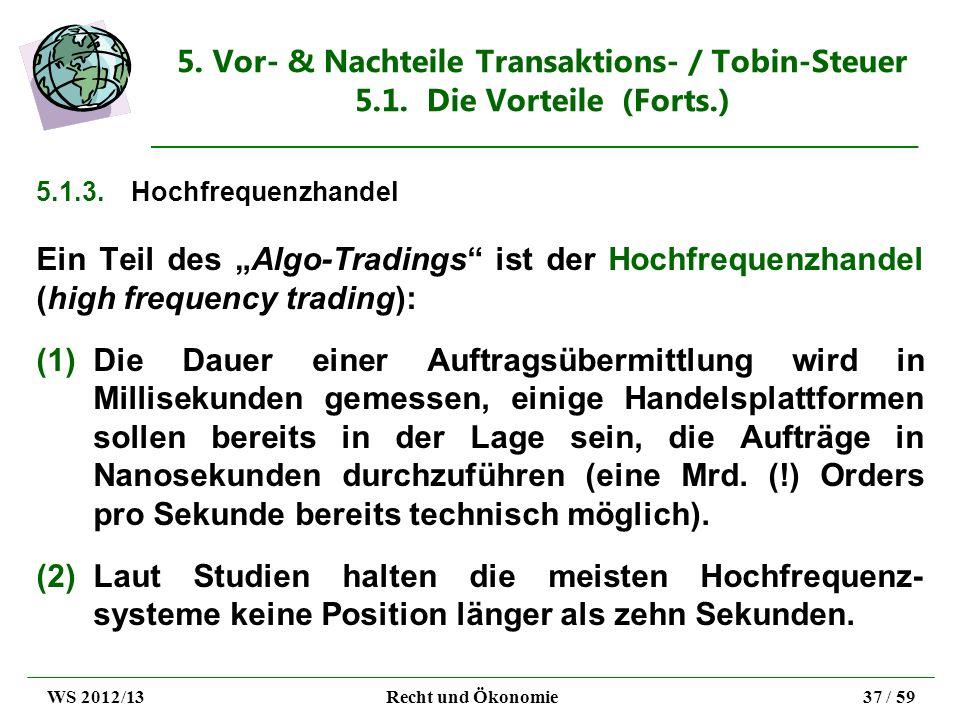 5. Vor- & Nachteile Transaktions- / Tobin-Steuer 5.1. Die Vorteile (Forts.) 5.1.3.Hochfrequenzhandel Ein Teil des Algo-Tradings ist der Hochfrequenzha
