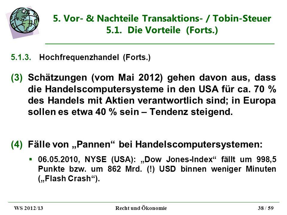 5. Vor- & Nachteile Transaktions- / Tobin-Steuer 5.1. Die Vorteile (Forts.) 5.1.3.Hochfrequenzhandel (Forts.) (3)Schätzungen (vom Mai 2012) gehen davo