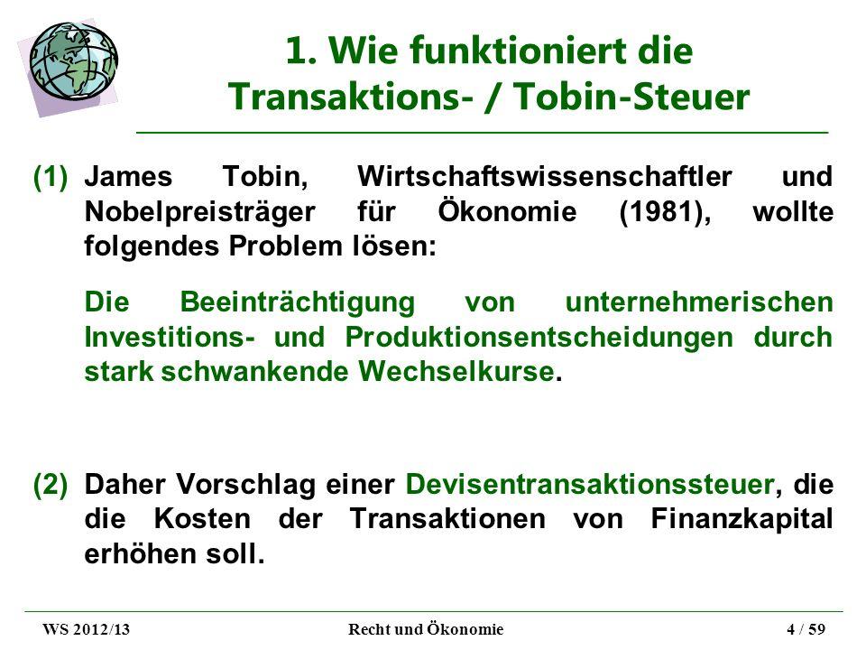 1. Wie funktioniert die Transaktions- / Tobin-Steuer (1)James Tobin, Wirtschaftswissenschaftler und Nobelpreisträger für Ökonomie (1981), wollte folge